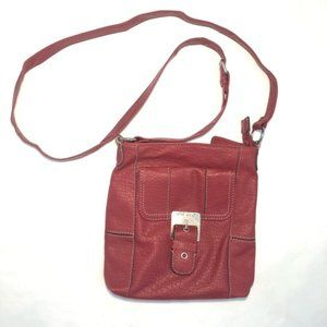 Red NINE WEST Faux Leather Crossbody Bag - #E16
